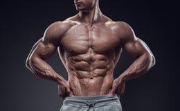 Όμορφος αθλητικός νεαρός άνδρας δύναμης με τη μεγάλη διάπλαση Στοκ φωτογραφία με δικαίωμα ελεύθερης χρήσης