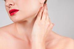 Όμορφος λαιμός γυναικών με το καθαρό φρέσκο δέρμα Στοκ Εικόνα