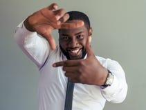 Όμορφος αμερικανικός επιχειρηματίας Afro Στοκ Φωτογραφίες