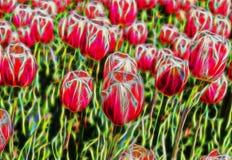 Όμορφος αφηρημένος fractal κήπος τουλιπών ελεύθερη απεικόνιση δικαιώματος