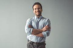Όμορφος βέβαιος επιχειρηματίας Στοκ φωτογραφία με δικαίωμα ελεύθερης χρήσης