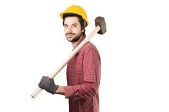 Όμορφος γενειοφόρος εργαζόμενος ατόμων Στοκ εικόνες με δικαίωμα ελεύθερης χρήσης