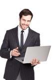 Όμορφος επιχειρηματίας με ένα lap-top Στοκ εικόνες με δικαίωμα ελεύθερης χρήσης