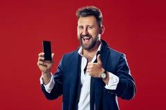 Όμορφος επιχειρηματίας με το κινητό τηλέφωνο Στοκ Εικόνα