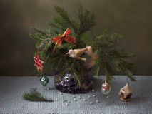 όμορφος λεπτομερής Χριστούγεννα διανυσματικός τρύγος δέντρων απεικόνισης επεξεργασίας Στοκ Φωτογραφία