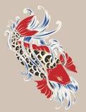 Όμορφος, ζωηρόχρωμος κυπρίνος Koi με τον παφλασμό νερού, λωτός και peony λουλούδι απεικόνιση αποθεμάτων