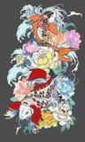 Όμορφος, ζωηρόχρωμος κυπρίνος Koi με τον παφλασμό νερού, λωτός και peony λουλούδι διανυσματική απεικόνιση