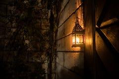 Όμορφος ζωηρόχρωμος φωτισμένος λαμπτήρας στον κήπο στη misty νύχτα Αναδρομικό φανάρι ύφους τη νύχτα υπαίθριο στοκ φωτογραφίες με δικαίωμα ελεύθερης χρήσης