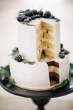 Όμορφος διακοσμήστε το γαμήλιο κέικ Στοκ Εικόνα