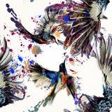Όμορφος διανυσματικός άνευ ραφής πίσω με τα λουλούδια και τα πουλιά κρίνων Στοκ εικόνες με δικαίωμα ελεύθερης χρήσης