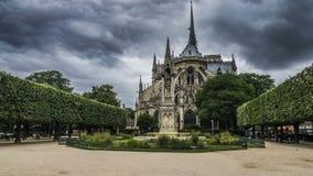 Όμορφος κήπος κοντά στον καθεδρικό ναό της Παναγίας των Παρισίων, παχιά γκρίζα σύννεφα στον ουρανό απόθεμα βίντεο