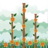 Όμορφος κήπος με το τοπίο λουλουδιών διανυσματική απεικόνιση