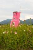 Όμορφος κήπος λουλουδιών με το winmill Στοκ Εικόνες