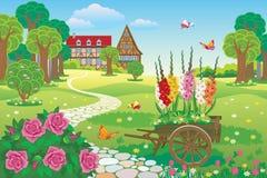 Όμορφος κήπος τοπίων με wheelbarrow κήπων απεικόνιση αποθεμάτων