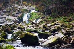 Όμορφος καταρράκτης βουνών μεταξύ των βράχων και της κωνοφόρης δασικής Ουκρανίας, τα Καρπάθια βουνά στοκ φωτογραφίες με δικαίωμα ελεύθερης χρήσης
