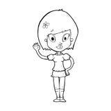 όμορφος κυματισμός κοριτσιών κινούμενων σχεδίων Στοκ εικόνες με δικαίωμα ελεύθερης χρήσης