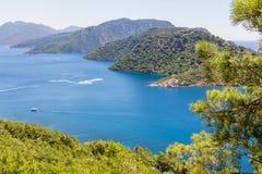 Όμορφος κόλπος θάλασσας με το μπλε νερό και τα πεύκα Στοκ Εικόνες