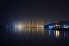 Όμορφος κόλπος θάλασσας τοπίων νύχτας Στοκ εικόνα με δικαίωμα ελεύθερης χρήσης