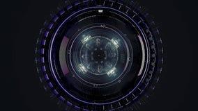 Όμορφος μεγάλος δορυφόρος στο μακρινό διάστημα : Περιστρεφόμενος μηχανισμός ενός αφηρημένου διαστημικού σκάφους στο μαύρο υπόβαθρ διανυσματική απεικόνιση