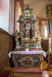 Όμορφος μπαρόκ δευτερεύων βωμός της εκκλησίας του ST Martin σε Hachiville, Λουξεμβούργο από το εργαστήριο Eberhard Hennes από Neu στοκ φωτογραφίες με δικαίωμα ελεύθερης χρήσης