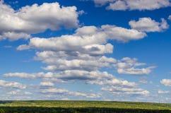 Όμορφος μπλε ουρανός με τα χνουδωτά σύννεφα και το πράσινο δάσος Στοκ εικόνα με δικαίωμα ελεύθερης χρήσης