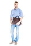 Όμορφος νέος σπουδαστής με την τσάντα lap-top στοκ εικόνες με δικαίωμα ελεύθερης χρήσης