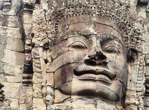 Όμορφος ναός Bayon προσώπου λεπτομερειών, Angkor Thom, Καμπότζη Στοκ Εικόνες