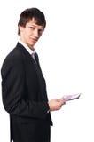 Όμορφος νεαρός άνδρας στην άσπρη ανασκόπηση Στοκ Εικόνα