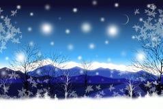 Όμορφος νυχτερινός ουρανός στο χειμερινό σούρουπο - γραφική σύσταση ζωγραφικής διανυσματική απεικόνιση