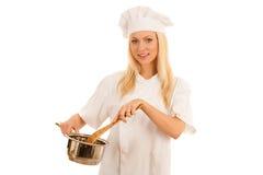Όμορφος ξανθός αρχιμάγειρας γυναικών που απομονώνεται πέρα από το άσπρο υπόβαθρο Στοκ Εικόνα
