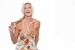 όμορφος ξανθός ευτυχής Στοκ εικόνα με δικαίωμα ελεύθερης χρήσης