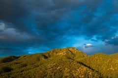 Όμορφος ουρανός βραδιού πέρα από μια αιχμή βουνών ντυμένη σε ένα δάσος ιουνιπέρων και πεύκων στοκ φωτογραφία