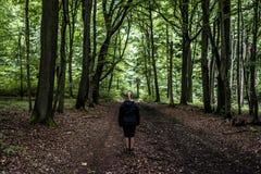 Όμορφος οδοιπόρος γυναικών που στέκεται στο δασικό ίχνος που κοιτάζει μακριά Θηλυκό στο πεζοπορώ στα απόκοσμα μυστικά δάση φύσης Στοκ Φωτογραφίες