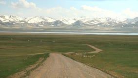Όμορφος ο φυσικός από Bishkek σε Naryn με τα βουνά Tian Shan του Κιργιστάν Στοκ Εικόνες