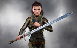 Όμορφος πολεμιστής δολοφόνων γυναικών brunette που φορά την εξάρτηση φαντασίας ελεύθερη απεικόνιση δικαιώματος