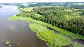 Όμορφος ποταμός με τις πράσινες τράπεζες φιλμ μικρού μήκους