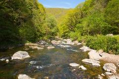 Όμορφος ποταμός Lynmouth Devon του Devon στον περίπατο σε Watersmeet Στοκ Εικόνες