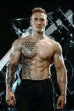 Όμορφος πρότυπος νεαρός άνδρας που επιλύει στη γυμναστική Στοκ εικόνες με δικαίωμα ελεύθερης χρήσης