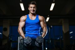 Όμορφος πρότυπος νεαρός άνδρας workout στη γυμναστική Στοκ Εικόνες
