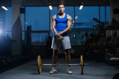 Όμορφος πρότυπος νεαρός άνδρας workout στη γυμναστική Στοκ εικόνες με δικαίωμα ελεύθερης χρήσης