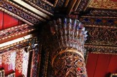Όμορφος πόλος Wat Sri Rong Muang, βιρμανός ναός, Lampang, Στοκ Εικόνες