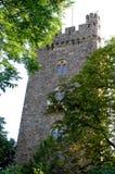 Όμορφος πύργος με τρία με πέτρινο διαχώρισμα παράθυρα κοντά σε Bingen στην κοιλάδα του Ρήνου στη Γερμανία στοκ φωτογραφίες με δικαίωμα ελεύθερης χρήσης