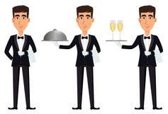 Όμορφος σερβιτόρος που φορά μια επαγγελματική στολή διανυσματική απεικόνιση