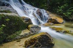 Όμορφος στη φύση, καταπληκτικός πέφτοντας απότομα τροπικός καταρράκτης υγρός και mossy βράχος, Στοκ Εικόνες