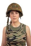 όμορφος στρατιώτης πορτρέτου κοριτσιών Στοκ φωτογραφία με δικαίωμα ελεύθερης χρήσης