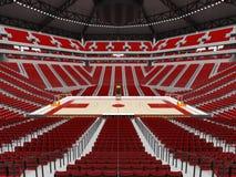 Όμορφος σύγχρονος αγωνιστικός χώρος για την καλαθοσφαίριση με τα κόκκινα καθίσματα απεικόνιση αποθεμάτων