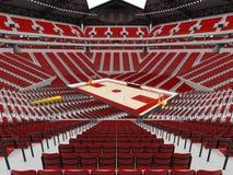 Όμορφος σύγχρονος αγωνιστικός χώρος για την καλαθοσφαίριση με τα κόκκινα καθίσματα ελεύθερη απεικόνιση δικαιώματος