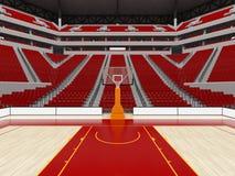 Όμορφος σύγχρονος αγωνιστικός χώρος για την καλαθοσφαίριση με τα κόκκινα καθίσματα διανυσματική απεικόνιση
