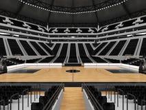 Όμορφος σύγχρονος αγωνιστικός χώρος για την καλαθοσφαίριση με τα μαύρα καθίσματα Στοκ Εικόνα