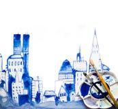 Όμορφος σύγχρονος δρόμος πόλεων με τους ουρανοξύστες, απεικόνιση φιαγμένη από αποτελέσματα watercolour Κατασκευασμένη συλλογή Wat Στοκ Εικόνες